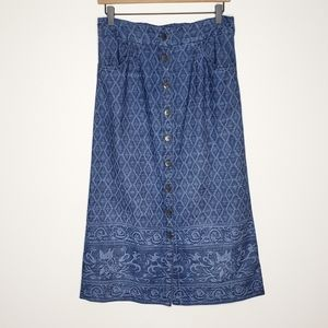 Soft Surroundings Ashbury Midi Denim Skirt Pockets